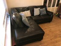 Brown Leather corner sofa / settee offers invited