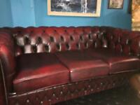 Beautiful red leather three seat chesterfield