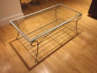 Large Glass Top Coffee Table, good condition