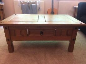 Corona Mexican Pine Coffee table and 3 small lamp tables