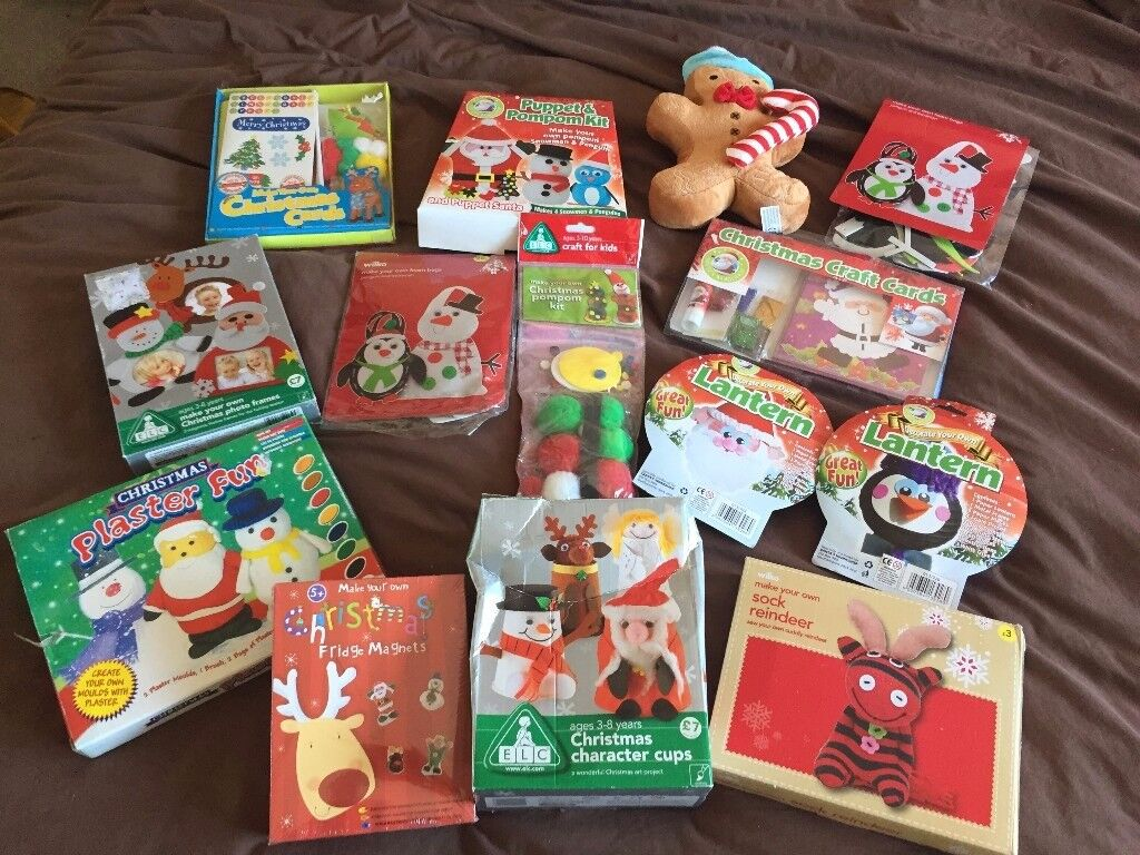BUNDLE NEW XMAS ART CRAFT SETS FREE DELVRY ELC PUPPET LANTERNS CARDS TOYS SEWING PAINTING CLAY MODEL