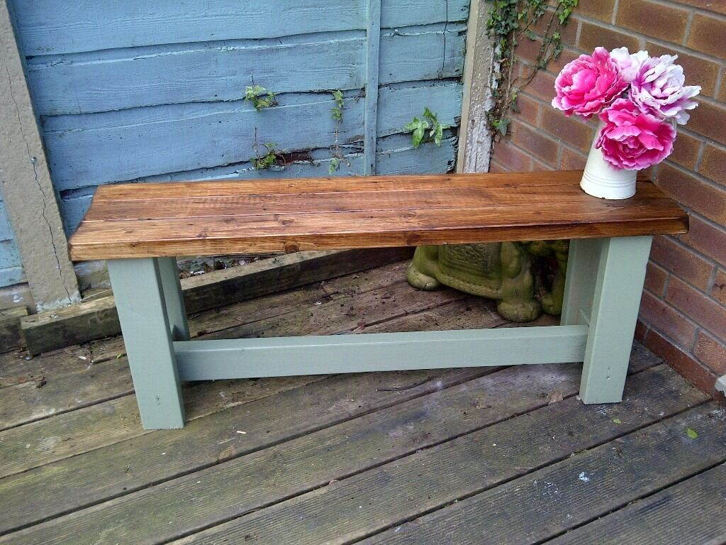 6 Rustic Shabby Chic Garden Bench Aprox 4ft Reclaimed Wood Protected Weather Proof Paint