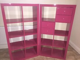 Pink shelving units