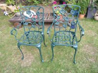 two metail garden chairs