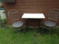 Garden Marble Table and 2 Chairs