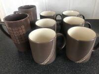 Brown Next mugs 2x tall 6x cups