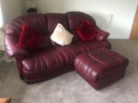3 seater burgundy, leather sofa and chair