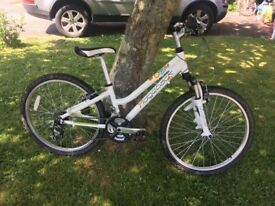 Girls Ridgeback Destiny white mountain bike 24 inch in excellent condition