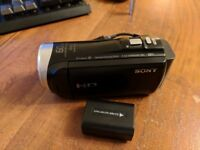 Sony CX450 Camcorder, Excellent Condition, Spare Battery, Charger and Case, 16GB SD Card