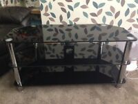 Black glass and chome look TV Stand