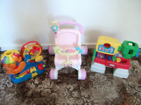 FISHER PRICE FIRST STEPS BABY WALKER AND TWO TOYS ACTIVITY CENTRE NOT CAR SEAT