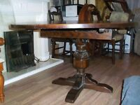 JAYCEE RETRO VINTAGE ARTS & CRAFTS STYLE ANTIQUE OLD CHARM DINING TABLE & 4 CHAIRS EXTENDING DELIVER
