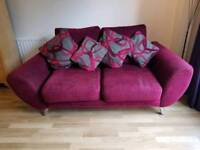 Sofa dfs two sitter purple with cushions