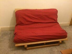 Futon double sofa bed wooden base