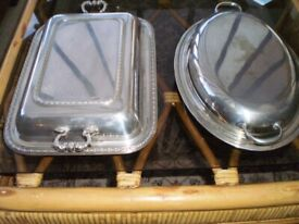 TWO VERY OLD SILVER PLATE SERVING DISHES