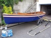 GP 14 sailing dinghy, reay to sail including launch and road trailers and over boom cover