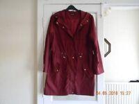 maroon raincoat