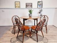 Ercol Vintage Fluer De Lys Round Dining Table and 4 Chair Set