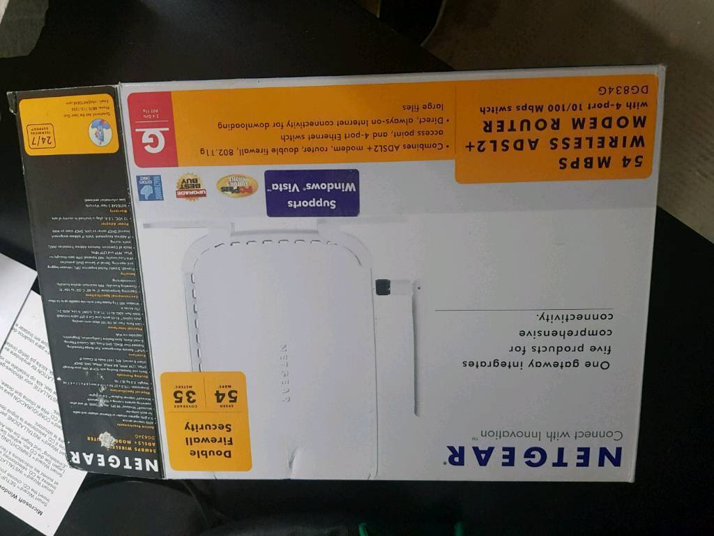 Boxed Netgear ADSL+2 wireless router DG834G V2