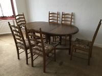 Collapsible dining table and chairs