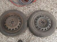 135/70/13 wheels and tyres, good tread and no cracks. £20 the pair, phone 07917037773