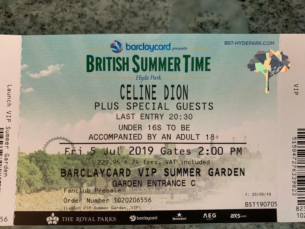 Celine Dion Hyde Park 5th July Save 100 Vip Summer Garden Tickets In Poole Dorset Gumtree