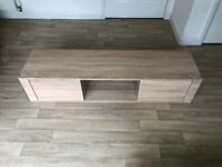 TV Stand - Pale Timber Laminate with Glass shelf - Great Condition - 140cm x 36cm x 31cm