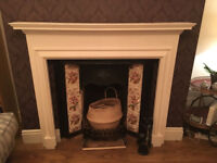 Fire surround/mantel piece for open fire (white painted wood, good condition, decorative)