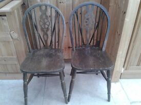 2 X ERCOL CHAIRS SOUND AND SOLID WHEELBACK IDEAL SHABBY CHIC PROJECT