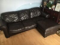 Chocolate leather 3 seater & footstool