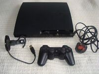 PS3 slim 232GB with controller and headset