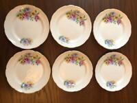 Six vintage tea plates