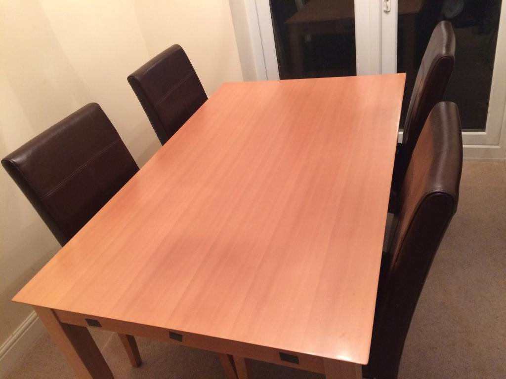 Dining table and 4 four chairs