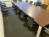 FREE SAME-DAY DELIVERY - Walnut Boardroom/Conference Table With 16 Bestuhl E1 Mesh Meeting Chairs