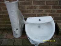 "Ideal Standard ""Cabria"" Wash Basin and Pedestal w550 x d450 in original shrink wrap"