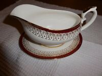 Gravy boat with saucer, white china with red and gold trim