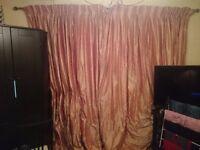 Very heavy, faux-silk taffeta Curtains in Peach Pink