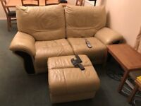reclining leather sofa, center section and ottoman