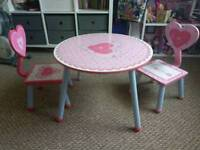 Kids wooden table and 2 chairs