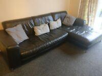Leather L-shaped Corner Sofa