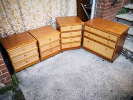 Matching solid wood bedroom furniture with rattan fronts in excellent condition with no damage