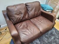 A 2 & 3 Seater Brown Leather Sofa