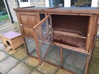 Single Hutch and Double Run For Rabbits and Guinea Pigs