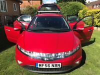 Superb Service History 2006 56 Civic EX Navigation 89555 Mls FSH HPI Clear Finished in Stunning red