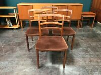Set of 4 Teak Dining Chairs by G Plan. Retro Vintage Mid Century