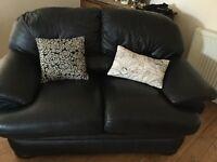 Thomas Lloyd Black Leather 2 Seater Sofa