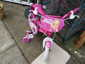 Princess girls bike size 12 inches with stabilisers