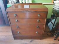 Vintage Retro Chest of Drawers 4 Graduated Drawers Dresser Sideboard