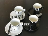 Set of 4 Coffee Espresso Cup And Saucer Set Black and White Modern Design USED