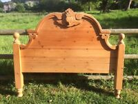 Carved pine head board double bed